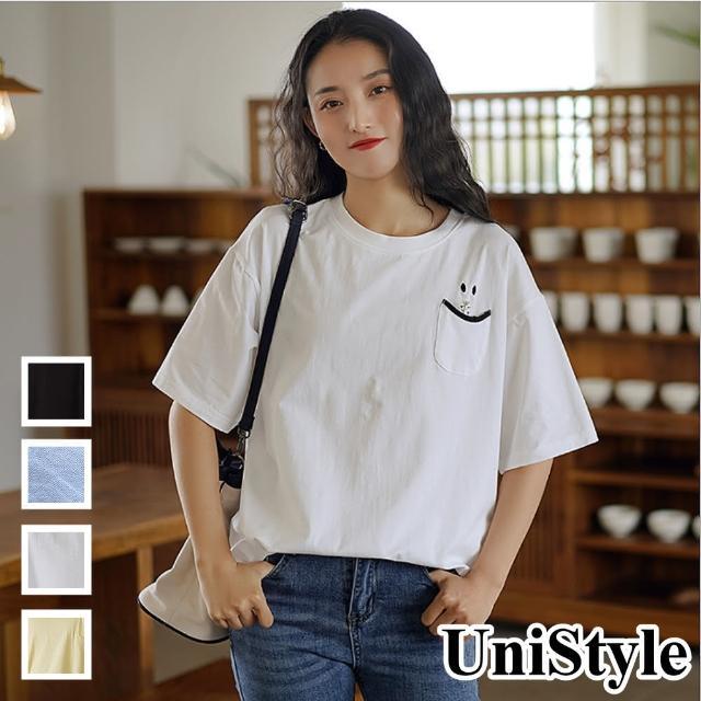 【UniStyle】原創設計師款 微笑小口袋薄款T恤上衣FA5510(黑/黃/白/天藍)