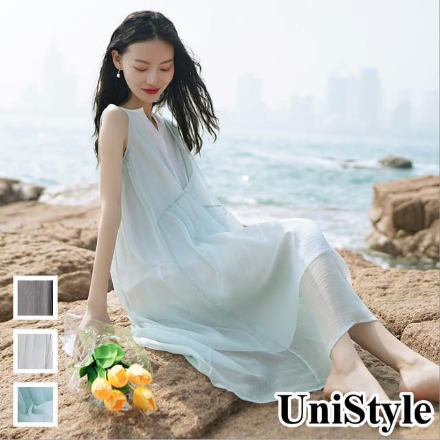 【UniStyle】原創設計師款 夏甜美假兩件無袖雪紡洋裝FA5548(藏青/淺灰/嫩綠)