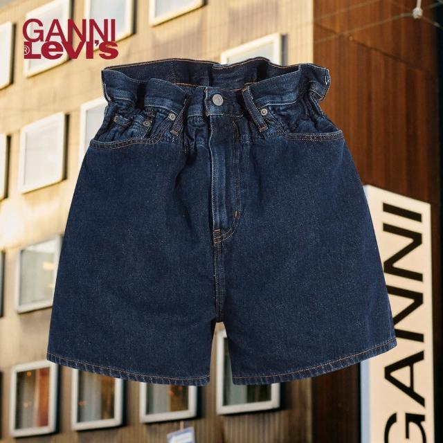【LEVIS】X GANNI 女款 高腰闊腿牛仔短褲 / 鬆緊帶褲頭 / 精工深藍染水洗 / 寒麻纖維-人氣新品
