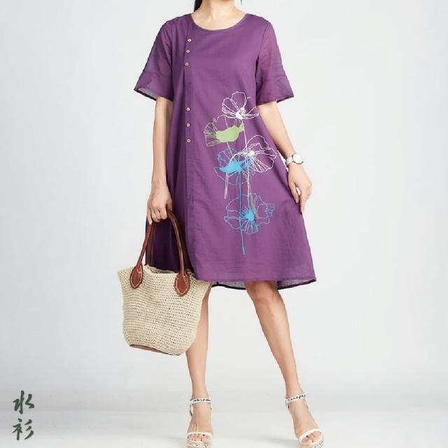 【水衫】棉質采卉長版洋裝三件組(J03-08)