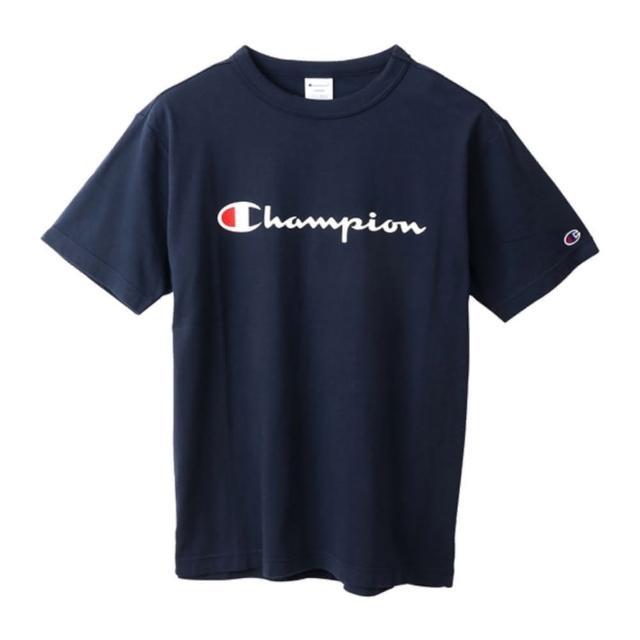 【Champion】男款白色草寫LOGO深藍色短袖上衣-NO.C3-P302-370