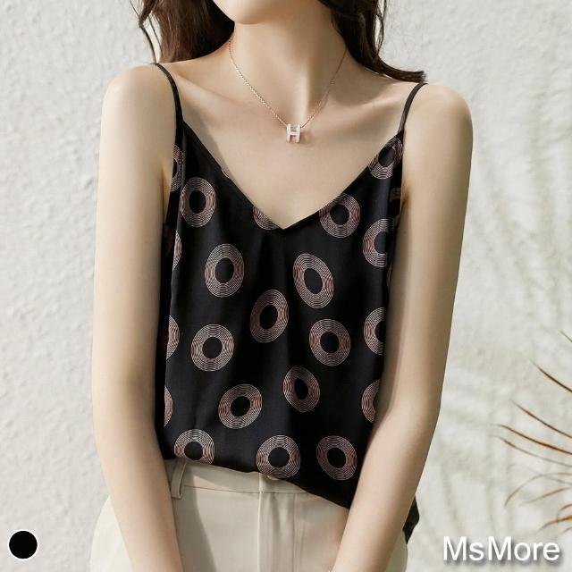 【MsMore】圓形印花絲質感冰涼可調整背心上衣#109776現貨+預購(黑色)