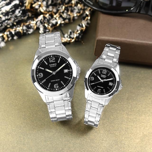 【CASIO 卡西歐】簡潔設計 數字刻度 不鏽鋼手錶 情侶對錶 黑色 38mm+27mm(MTP-1215A-1A.LTP-1215A-1A)
