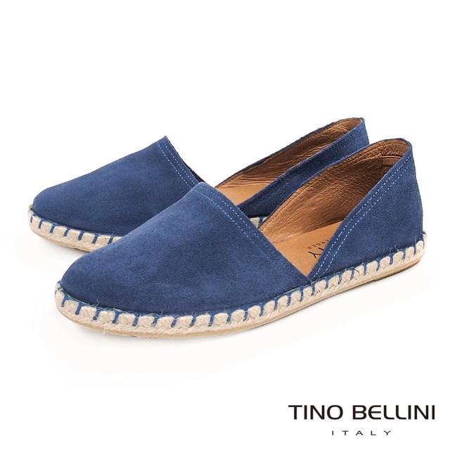 【TINO BELLINI 貝里尼】西班牙進口渡假風情牛麂皮草編休閒鞋B83214B(藍)