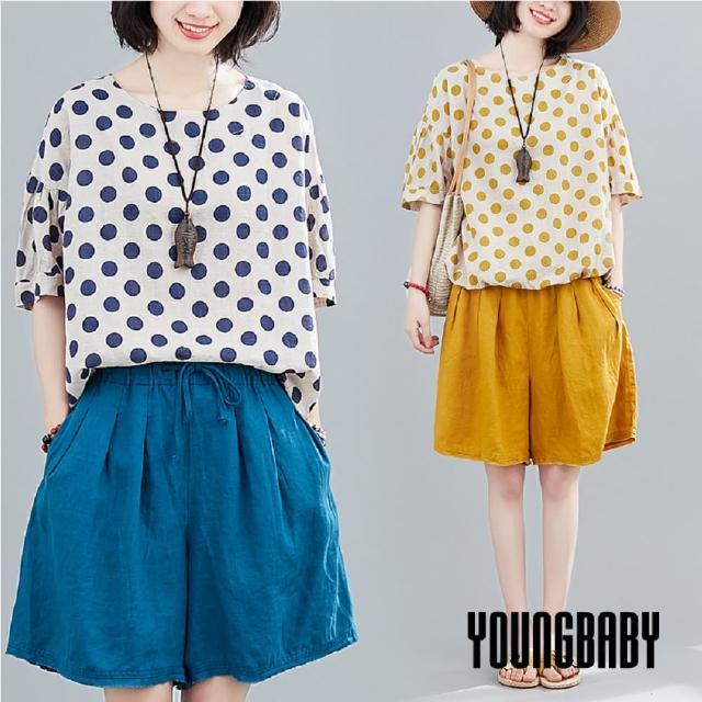 【YOUNGBABY】點點上衣+鬆緊短褲褲裙兩件套裝(共2色)