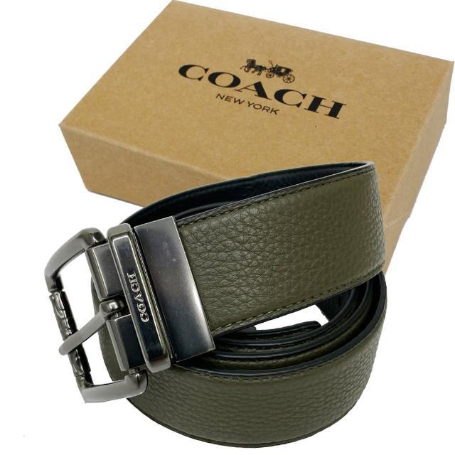 【COACH】針釦素面牛皮寬版男款中性皮帶禮盒(橄欖綠)
