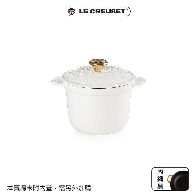 【Le Creuset】萬用窈窕鑄鐵鍋18(和風繪/棉花白-金頭)