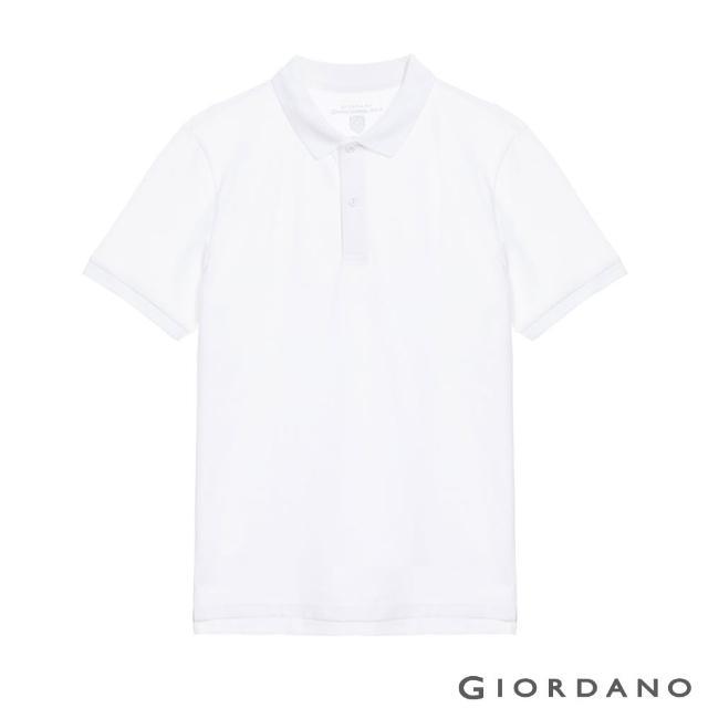 【GIORDANO 佐丹奴】男裝經典素色抗菌POLO衫(01 標誌白)