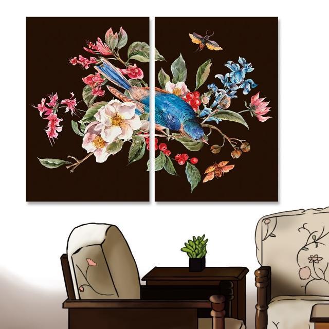 【24mama 掛畫】二聯式 油畫布 春天 復古 植物花朵 昆蟲 甲蟲 鳥 動物 手繪 無框畫-40x60cm(柔和的春天01)