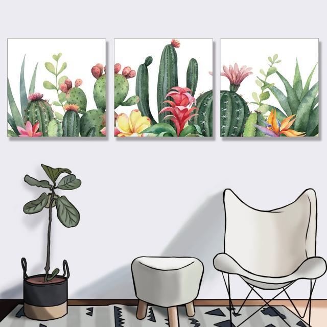 【24mama 掛畫】三聯式 油畫布 仙人掌 插圖 夏天 無框畫-50x50cm(熱帶植物花卉)