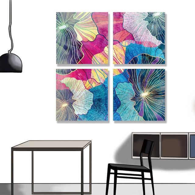 【24mama 掛畫】四聯式 油畫布 豐富多彩 幾何 藝術插圖 明亮 繪畫 創造力 無框畫-30x30cm(多彩抽象)