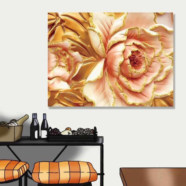 【24mama 掛畫】單聯式 油畫布 金色葉子 藝術 華麗 時尚 優雅 花卉 無框畫-80x60cm(鍍金牡丹)