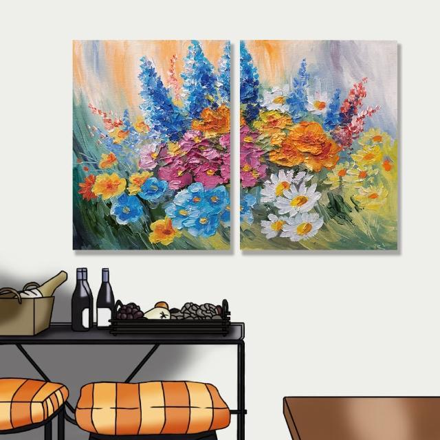 【24mama 掛畫】二聯式 油畫布 抽象 五顏六色 藝術 豐富多彩 美麗花卉 無框畫-30x40cm(春天花束)