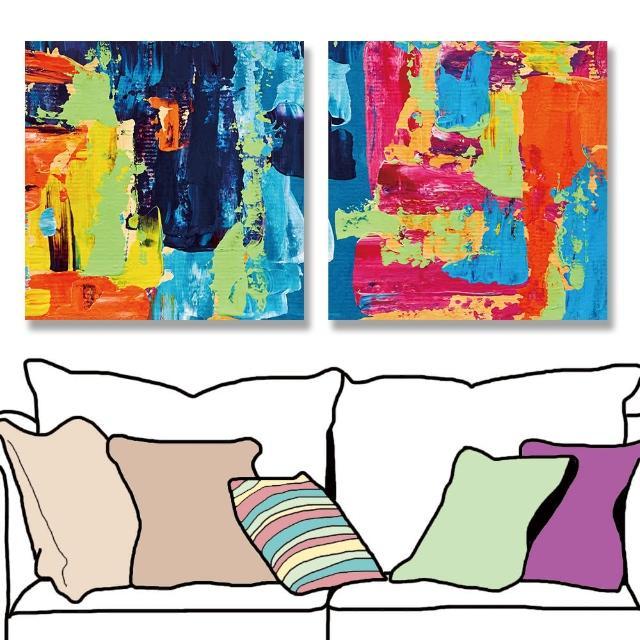 【24mama 掛畫】二聯式 油畫布 抽象背景 藝術品 創作 繪畫 無框畫-30x30cm(現代彩色)