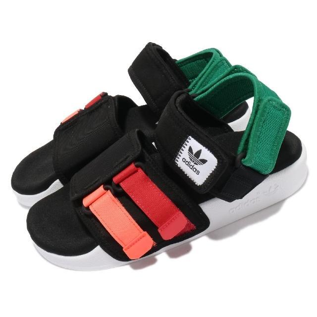 【adidas 愛迪達】涼鞋 Adilette Sandal 4.0 男女鞋 愛迪達 夏日 輕便 簡約 情侶穿搭 黑 紅(GZ8827)