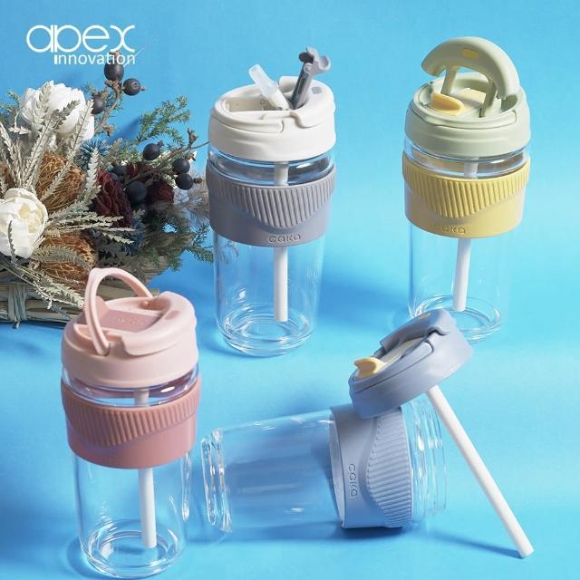 【APEX】歐美直飲吸管兩用耐熱玻璃隨行杯500ML四色任選/大口徑/提把/支架/咖啡杯(買1送1)