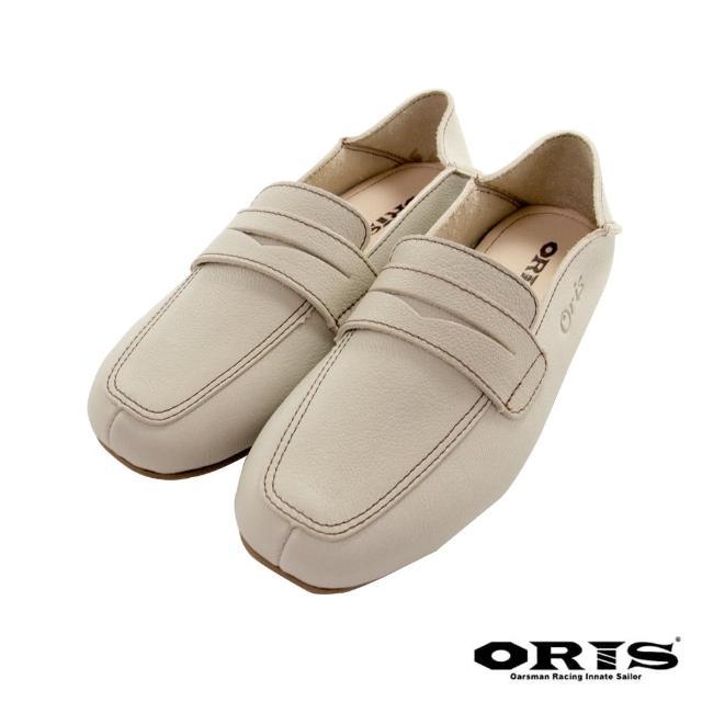 【oris 帆船鞋】海鷗鏤空懶人休閒鞋-杏-S1654N15(真皮/手工/休閒鞋/懶人鞋)
