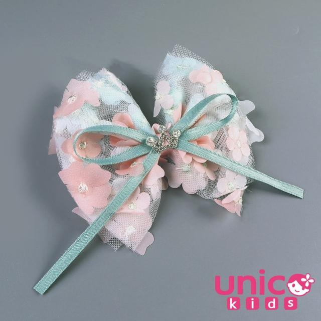 【UNICO】兒童 冰雪奇緣ELSA風漸層綠粉色甜美公主系列髮夾/髮飾(飾品/配件/冰雪奇緣/漸層綠粉)