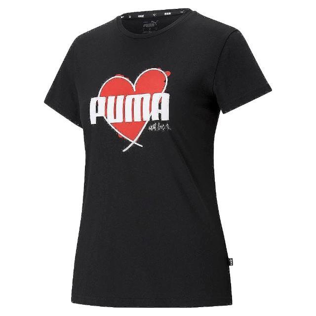 【PUMA】上衣 女款 短袖上衣 運動 慢跑 訓練 HEART 黑(58789701)