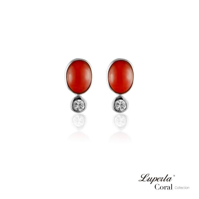【大東山珠寶】鴻運珊瑚 設計經典款 沙丁全紅珊瑚耳環 925銀(深海沙丁全紅珊瑚)
