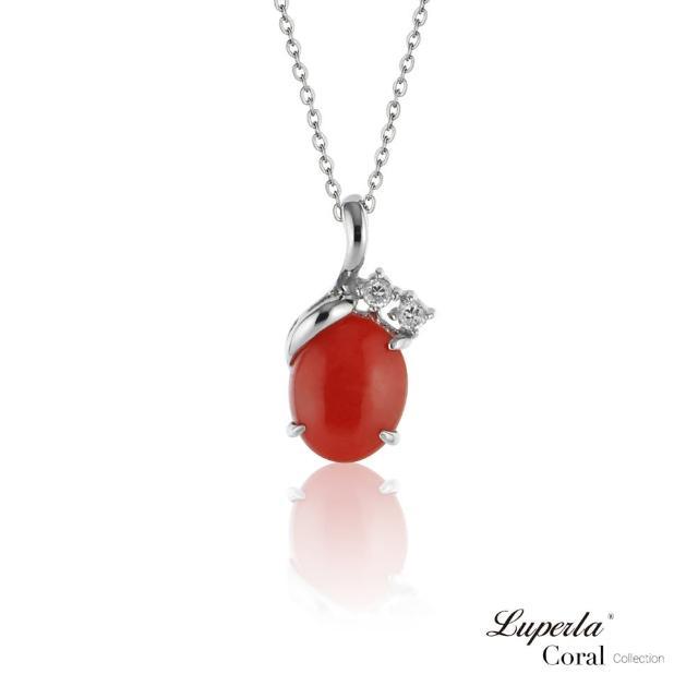 【大東山珠寶】鴻運珊瑚 設計經典款 沙丁全紅珊瑚項鍊 925銀(深海沙丁全紅珊瑚)