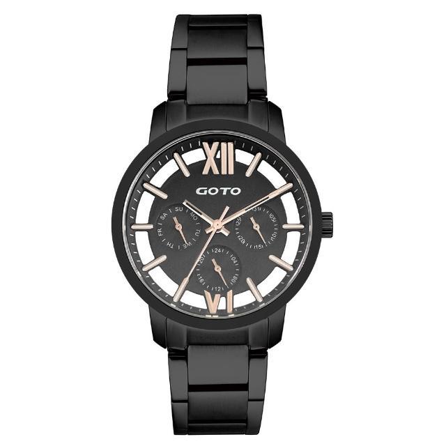 【GOTO】LINK系列裸空三眼精品時尚手錶-IP黑(GS0060L-33-341)
