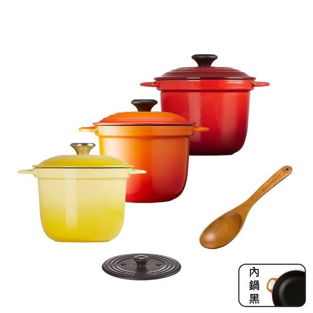 【Le Creuset】萬用窈窕鑄鐵鍋18+內蓋+湯匙(多色任選)