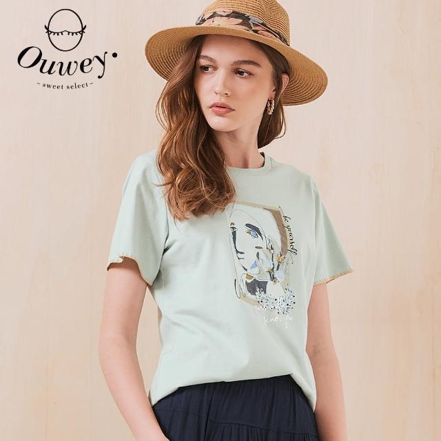 【OUWEY 歐薇】藝術美學燙金字母膠印純棉上衣3212081248(淺綠)