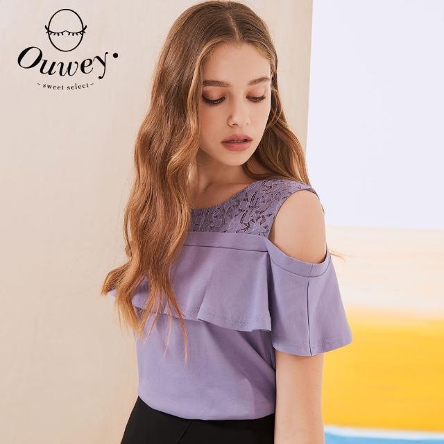 【OUWEY 歐薇】繩股蕾絲拼接純棉微甜露肩上衣3212081247(紫)