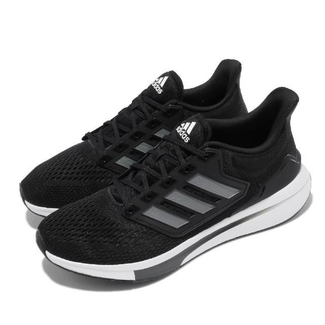 【adidas 愛迪達】慢跑鞋 EQ21 Run 低筒 運動 男鞋 愛迪達 輕量透氣 舒適避震 路跑 健身 黑 白(H00512)