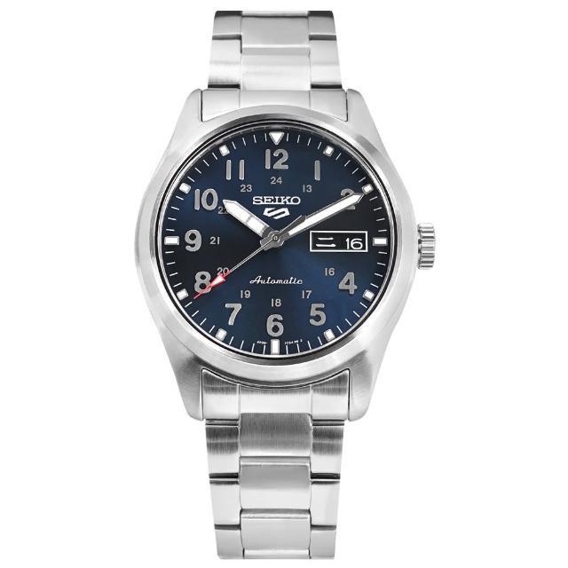 【SEIKO 精工】5 Sports 機械錶 數字刻度 星期日期 防水100米 不鏽鋼手錶 藍色 39mm(4R36-10A0B.SRPG29K1)