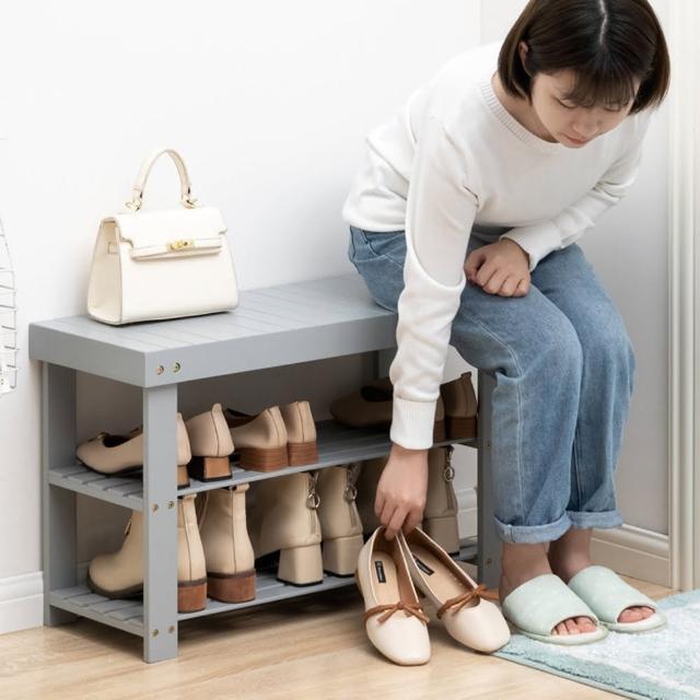【HappyLife】楠竹落地換鞋凳 66CM Y10196(穿鞋椅 換鞋椅 開放式鞋架 鞋櫃 玄關鞋架 玄關收納)