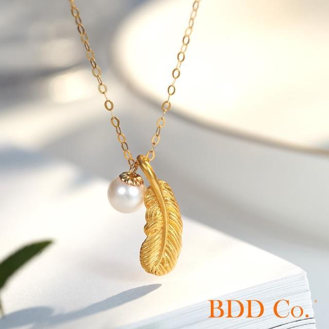 【BDD Co.】BDD-Co.18k玫瑰金Au750(時尚羽毛珍珠項鏈)