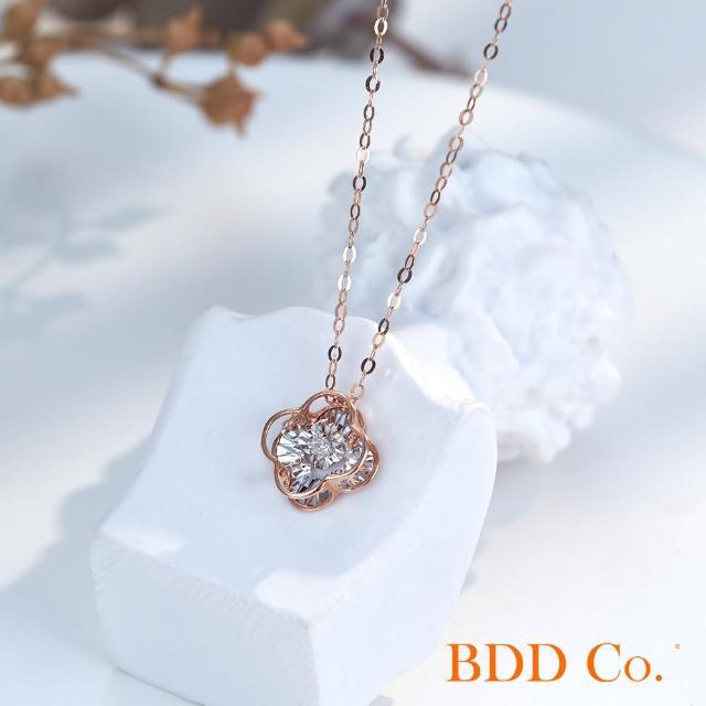 【BDD Co.】BDD-Co.18k玫瑰金/白金 Au750(雙層靈動四葉草鑽石項鏈)