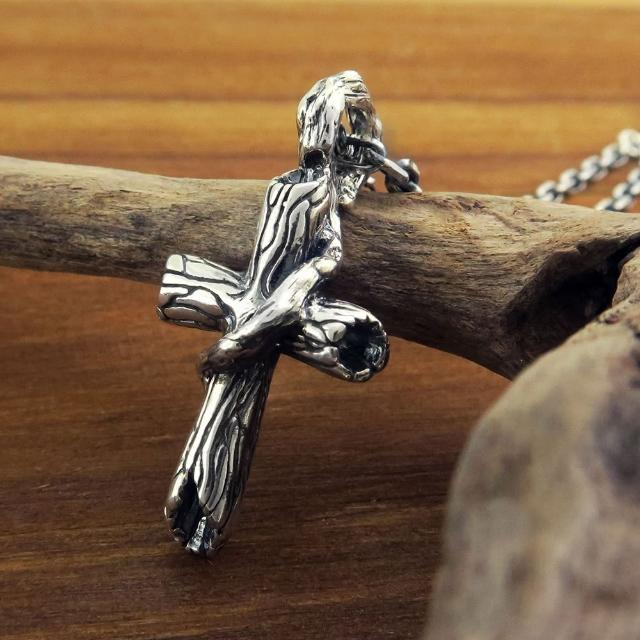 【ART64】枯木十字項鍊-小 925純銀項鍊 十字架(附品牌包裝盒)