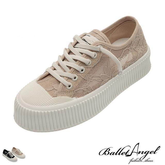 【BalletAngel】休閒鞋 元氣少女蕾絲透膚餅乾鞋(共兩色)