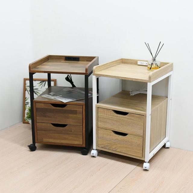 【喬艾森】工業風 一格兩抽 附輪 床頭櫃 活動櫃 附插座(工業風附輪公文櫃)