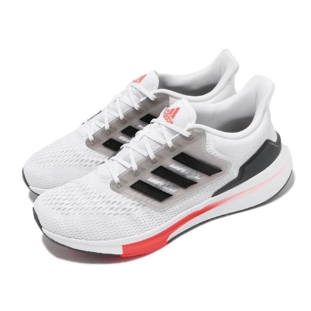 【adidas 愛迪達】慢跑鞋 EQ21 Run 低筒 運動 男鞋 愛迪達 輕量透氣 舒適避震 路跑 健身 白 黑(H00511)