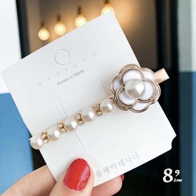 【89 zone】法式古典串珠珍珠花鴨嘴夾/邊夾/髮夾 1 入(白)