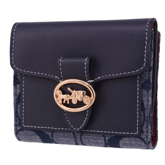 【COACH】GEORIGE系列 馬車立體金LOGO 牛仔拼接牛皮皮革 零錢袋 / 對折短夾(老花藍)
