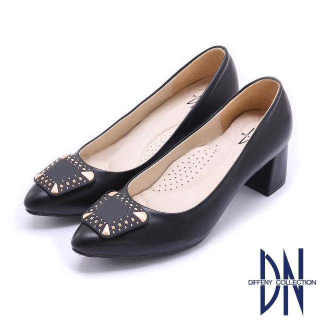 【DN】跟鞋_MIT優雅質感飾釦微尖跟鞋(黑)