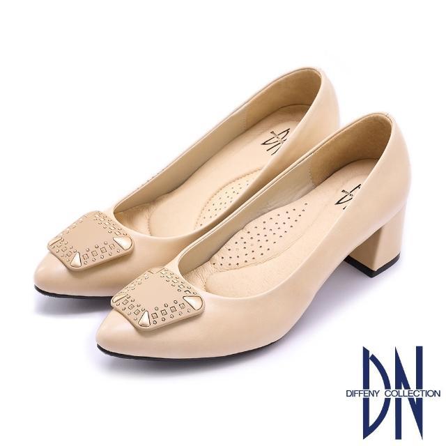 【DN】跟鞋_MIT優雅質感飾釦微尖跟鞋(駝)