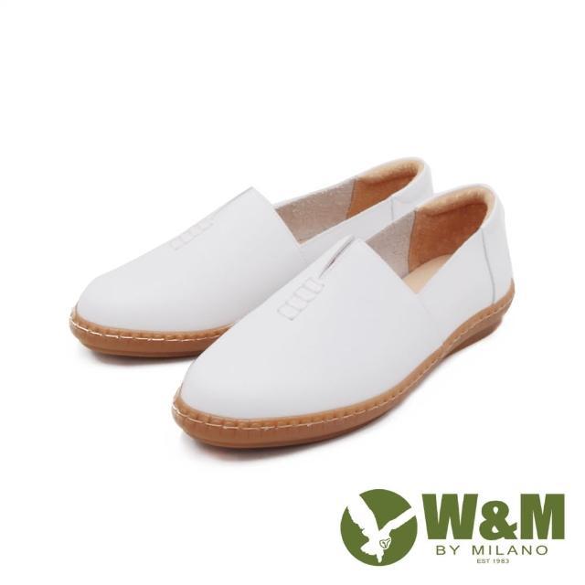【W&M】女 小切口縫線懶人休閒 莫卡辛女鞋(白)