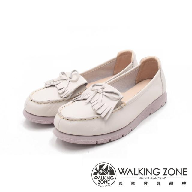 【WALKING ZONE】女 百搭圓頭厚底樂福鞋 女鞋(米白)