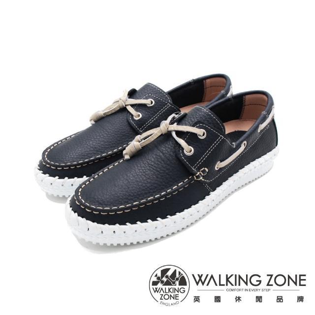 【WALKING ZONE】男 車縫造型帆船 男鞋(藍)