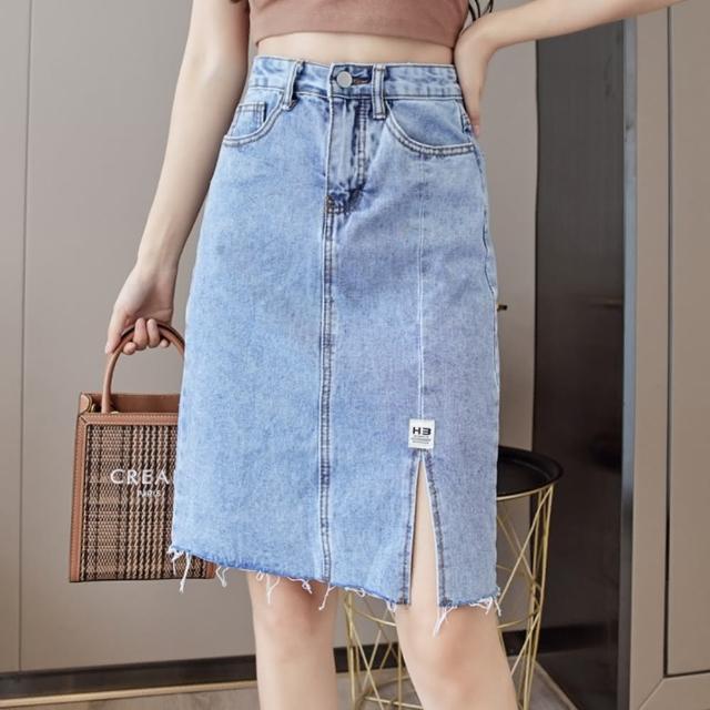 【WHATDAY】時尚潮流高腰開衩毛邊淺牛仔半身裙S-XL
