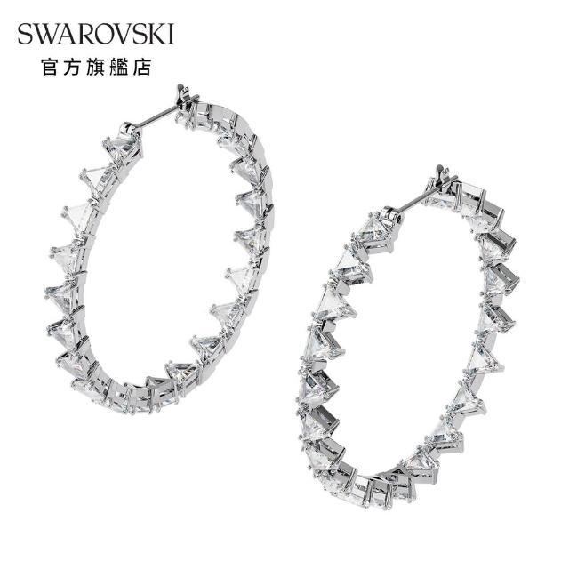 【SWAROVSKI 施華洛世奇】MILLENIA 白金色三角形大圈穿孔耳環