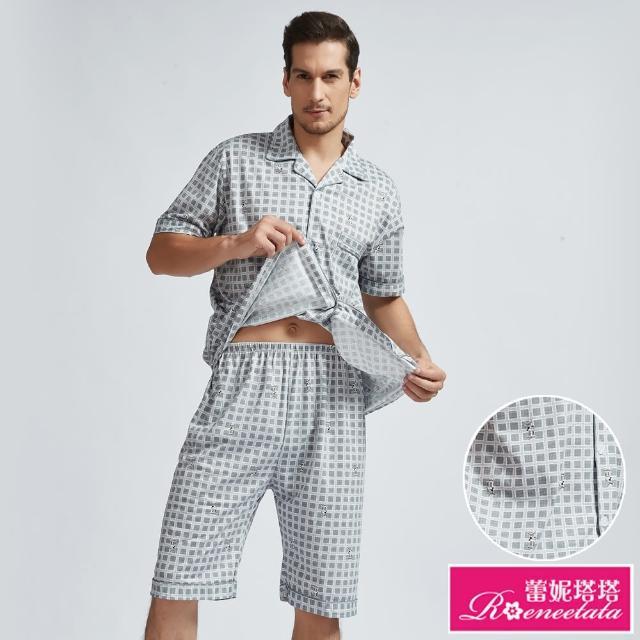 【蕾妮塔塔】方格麋鹿 男性短袖兩件式睡衣(R18008灰)