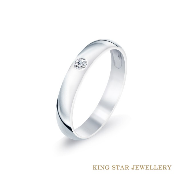 【King Star】穩鑽白K金鑽石尾戒(嚴選無色等級美鑽)