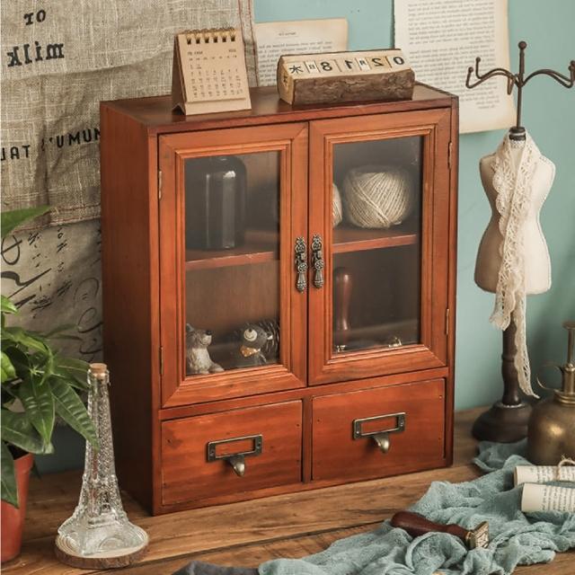 【慢慢家居】復古仿舊玻璃抽屜式實木收納櫃(展示櫃 抽屜收納 桌上收納 玻璃櫃)